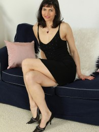 Elegant and mature Mona B from AllOver30 looking sexy in her dress