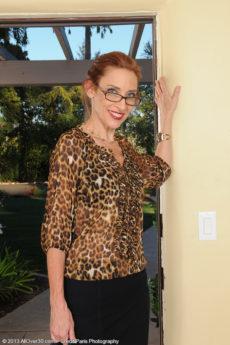 Skinny 43 year elder Betty Blaze looking hot inside her glasses and heels