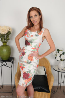 Thin 43 year aged redhead Betty Blaze slips from her elegant dress