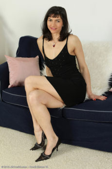 Elegant plus mature Mona B from AllOver30 lookin sexy inside her dress
