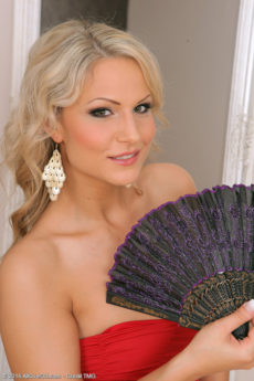 Holly B - Blonde Holly B with her fan