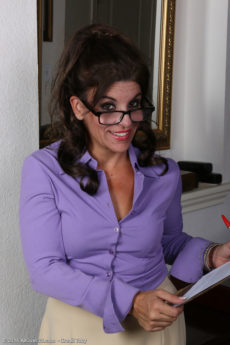 Naughty secretary Nicole Newby looks hot in glasses but hotter naked out of her office clothes