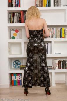 Elegant blonde AllOver30 MILF Sasha Jess removes her dress to spread her wet cunny