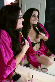 Curvy chubby brunette Victoria Powers takes off her robe and panties to play with her pussy
