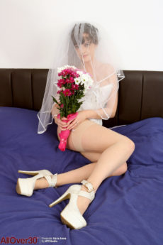 Busty bride Kate Anne showing off her large titties and bare pussy