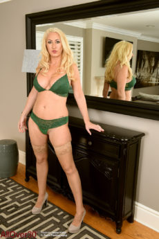Chubby blonde MILF Janna Hicks looking hot in stockings