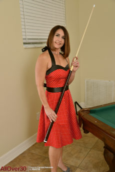 Curvy MILF Carissa Dumonde playing pool and teasing with her big bottom