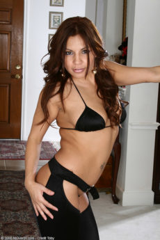 35 year old Latina hottie Lola showing off her chaps and nice ass