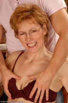 Georgina C takes a younger mans hard cock deep inside of her aching mature pussy