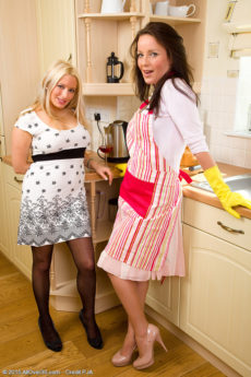 Horny beautiful MILFs Kaz B and Marlyn get frisky eating pussy in the kitchen