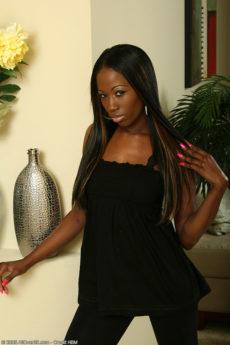 Gorgeous 31 year old ebony MILF India B flaunts her tight naked body