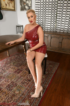 Short haired blonde MILF Ryan Keely loses her tight red dress